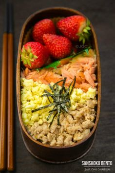 Sanshoku Bento 三色弁当 /Japanese Lunch box with delicious Soboro Don (sauteed chicken), Salted Salmon, Shredded nori sheet and Strawberries @JustOneCookbook (Nami)