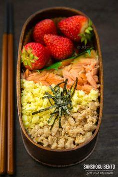Sanshoku Bento 三色弁当 /Japanese Lunch box with delicious Soboro Don (sauteed chicken), Salted Salmon, Shredded nori sheet and Strawberries @JustOneCookbook (Nami)