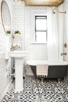 black and white bathroom tile in Jonah's/guest bathroom Upstairs Bathrooms, Downstairs Bathroom, Bathroom Renos, Laundry In Bathroom, Bathroom Flooring, Bathroom Interior, Tile Bathrooms, Small Bathroom Tub Ideas, Stick On Tiles Bathroom
