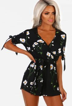 fc793fad89ad Sweet Like You Black Floral Wrap Playsuit