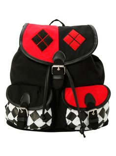 Black slouch backpack from DC Comics with Harley Quinn themed design. Snap button and drawstring closure.