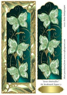 """Grace Butterflies DL Bookmark Topper 3 on Craftsuprint designed by Anna Babajanyan - A very elegant DL card topper which I have designed with my latest """"Grace Butterfly Bookmark"""" design placed on my """"Antique"""" background and decorated with my Rich swirls decorative border design. An extra image of the bookmark layer is included on the sheet which you can use to decoupage either the whole bookmark or just cut out the butterflies and decoupage the butterflies on the topper for a beautiful 3D…"""