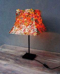 Sequins Lamp, Accent Lamp, Table Light, Romantic Floral Lamp made with Vintage Sequins
