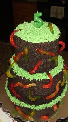 Dirt and Worms Cake--- steph loves this type of cake. a new ideas.....