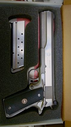 """Javelina  10mm Auto 1911 in the """"Longslide"""" configuration. iAi was the name of the company that was essentially AMT, the original makers of the 7″ barreled Hardballer Longslides. The Javelina is a bit harder to find than its .45 ACP sibling since very few were made before iAi shut its doors. Depending on the condition they average about $1,000~ or so. (GRH)"""