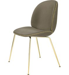 Beetle Chair Fully Upholstered | From Gubi | Color M8797A08 Green/Gold | Piping in Velluto di Cotone Color 294 Grey | Brass Frame