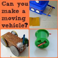 for kids - Vehicle challenge Can you make a moving vehicle? Fun activity for Juniors doing the Get Moving program.Can you make a moving vehicle? Fun activity for Juniors doing the Get Moving program. Cub Scout Activities, Preschool Science Activities, Stem Science, Science Experiments Kids, Science Education, Science For Kids, Physical Science, Science Classroom, Earth Science
