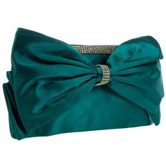 Green Bow Diamante Trim Clutch Bag ($32) ❤ liked on Polyvore