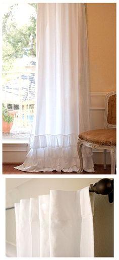 Farmhouse ruffled drapes!