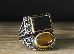 925 K Sterling Silver Man Ring Brown Tiger Eye 10,5 US Size B20-65019 #istanbul #Cluster