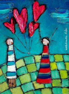 "Olivia Botha ""Celebrate life"" - Art de Olivia Abstract Canvas Art, Naive Art, Heart Art, Art Journal Pages, Whimsical Art, Artist Art, Altered Art, Diy Art, Painted Rocks"
