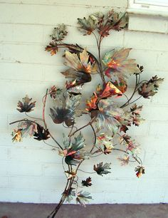 Jere Era Mid Century Modern Metal Wall Art Leaf Sculpture