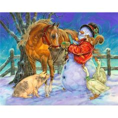Snowman by Donna Race Christmas Horses, Cowboy Christmas, Very Merry Christmas, Christmas Animals, Christmas Past, Christmas Snowman, Country Christmas, Christmas Christmas, Illustration Noel