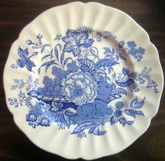 Blue Cream Fruit Basket Roses Toile Scalloped Vintage Plate