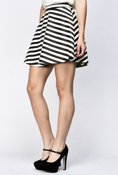 Gorgeous PU black and white striped Skirt! www.trendylulu.com 10% off all orders over $50 and Free Standard Shipping!