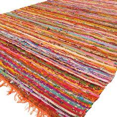 orange colorful decorative woven chindi boho rag rug 35 x 55 ft