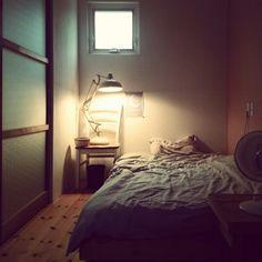 halさんの、ベッド周り,扇風機,DIY,手作り,無垢材,わたしの部屋,のお部屋写真