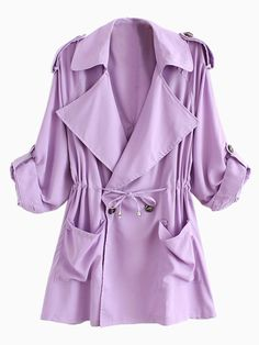 Light Purple Lapel Waisted Double Breasted Trench Coat | abaday