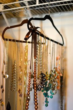 So easy!  Organize your #statement #necklaces and long pieces on a velvet hanger in your closet.