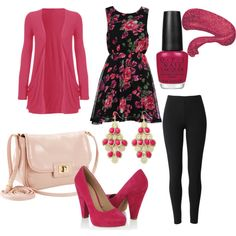 Pink Flowers, created by stephanie-cardwell on Polyvore