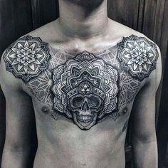 Floral Pattern Skull Mens Nice Upper Chest Tattoos