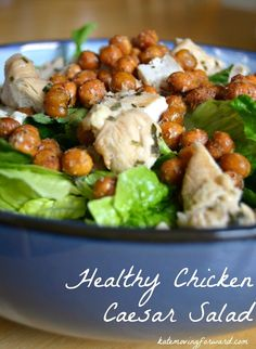 This healthier version of the classic caesar salad is straight up delicious! The chickpeas provide great crunch and the chicken is perfectly seasoned too.