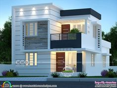 1510 square feet 4 bedroom modern budget friendly house plan by Dream Form from Kerala. Modern Bungalow House Design, Best Modern House Design, Modern Exterior House Designs, Modern House Facades, Duplex House Design, Modern Architecture House, 4 Bedroom House Designs, House Outer Design, House Outside Design