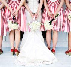 Patterned Bridesmaid Dresses ~ Wedding High Like the idea of patterns! July Wedding, Seaside Wedding, Red Wedding, Nautical Wedding, Wedding Bells, Wedding Colors, Carnival Wedding, Whimsical Wedding, Wedding Album