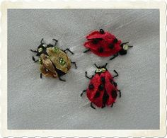 Silk Ribbon Embroidery: Bees and Ladybugs in SRE