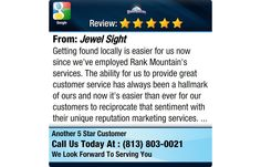 Getting found locally is easier for us now since we've employed Rank Mountain's services....