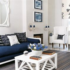 Red white and blue living room ideas blue and white living room ideas blue accents ideas Blue And White Living Room, Blue Living Room Decor, Coastal Living Rooms, Living Room Sofa, Home And Living, Living Room Furniture, Living Room Designs, Living Spaces, New England Decor
