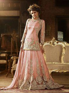Peach Net Wedding Salwar Kameez 80652