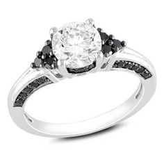 6.5mm Lab-Created White Sapphire and 1/3 CT. T.W. Enhanced Black Diamond Engagement Ring in Sterling Silver