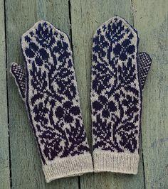 Ravelry: Summer Night's Bloom pattern by Natalia Moreva Crochet Mittens, Mittens Pattern, Knitted Gloves, Knit Crochet, Fair Isle Knitting, Knitting Socks, Wrist Warmers, Hand Warmers, Knitting Projects