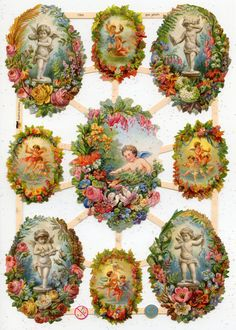 Victorian CHERUBS IN FLORAL Frames  Die Cut Reliefs by OneDayLongAgo on Etsy, $2.95