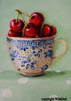 """LIFE IS JUST A CUP OF CHERRIES SOMETIMES"",   Cherry Tea Cup original painting  FREE USA shipping.  via Etsy. SOLD"