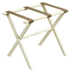 Showcasing 3 beige straps and an ivory finish, this versatile wood luggage rack is perfect for resting suitcases in your guest room.     ...