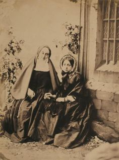 Portrait of a nun and a young woman, 1856. Albumen print.