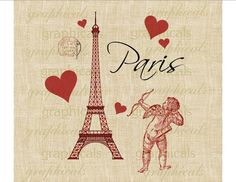 Paris Eiffel Tower Valentine cupid hearts Digital download iron on fabric transfer to fabric paper burlap tote bags pillows No. 458