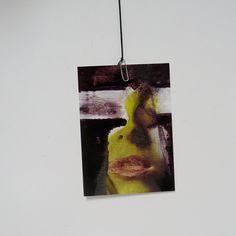 art print postcard // giclee, intense portrait, acid green, pink, female lips, 4x6 paper art