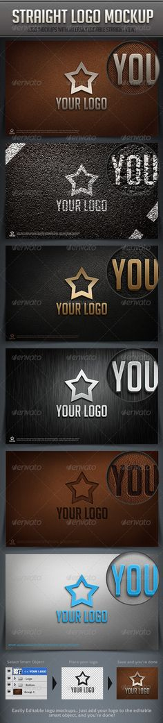 An easily editable Logo mock-up, with a straight view, as a change for the tilted perspective mockups that were posted on GR recently   6 Options are included, and you can add your logo, simple by replacing it with the default smart object..
