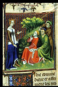 Libya giving orders to three men. From Boccaccio, Des cleres et nobles femmes, De claris mulieribus in an anonymous French translation c. 1400-25, French (Paris). British Library MS Royal 20 C V f. 20