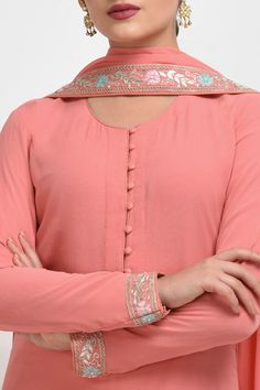 Carnation Pink Gota Patti Work Suit with Dupatta Salwar Suit Neck Designs, Neck Designs For Suits, Kurta Neck Design, Salwar Designs, Kurti Designs Party Wear, Pakistani Fashion Party Wear, Pakistani Dress Design, Embroidery Suits Design, Embroidery Fashion