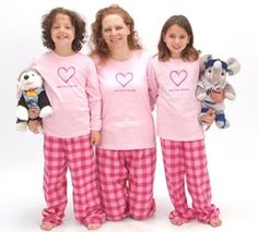 Matching Mother Daughter Love Your Family Heart Pink Heart Pajamas