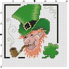 Leprechaun Tea Towel Counted Cross Stitch Pattern by Berwickbay, $1.00