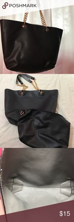 "Black Tote with Insert Tote is black faux leather with gold chain. Size is 14""W x 13""H.  Also comes with matching black faux leather insert. Bags Totes"