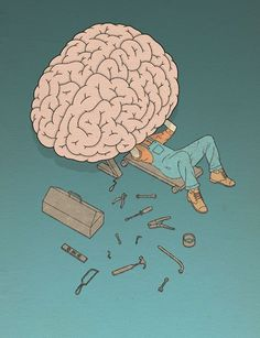 Illustrations by Robbie Porter Brain Mechanic - Illustration by Robbie PorterBrain Mechanic - Illustration by Robbie Porter Le Sniper, Image Positive, Positive Mind, Brain Illustration, Psychology Humor, Satirical Illustrations, Meaningful Pictures, Brain Art, Humor Grafico