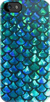 This phone case is really awesome because the pattern is so simple yet as soon as you look at it, you know it's supposed to represent a mermaid. I think the texture of it looks really cool, almost like it's 3-D. And the monochromatic color scheme is enough so you can see the different scales but it's not boring with just a couple color shades.