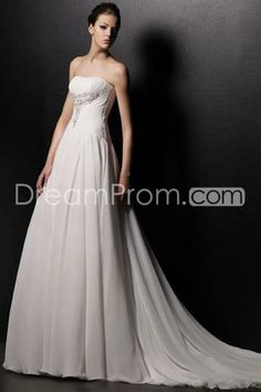 Simple A-Line/Princess Straplesst Backless Cathedral Beading Bridal Gown