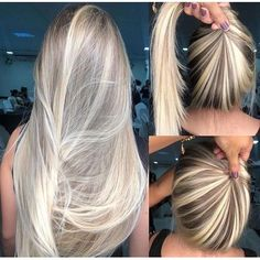 Look at that migles hair? It's perfect, right? I already want! Cute Hair Colors, Cool Blonde Hair, Girl Haircuts, Hair Painting, Crazy Hair, Blonde Balayage, Great Hair, Down Hairstyles, Ombre Hair